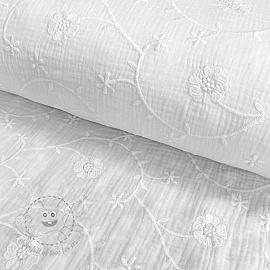 Double gauze/muslin Embroidery Clover white