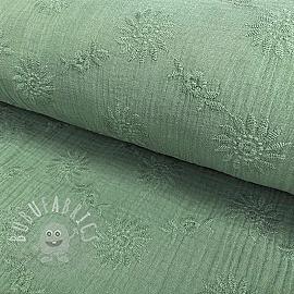 Double gauze/muslin Embroidery Daisy old green