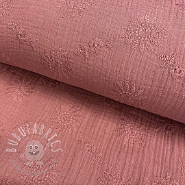 Double gauze/muslin Embroidery Daisy old pink