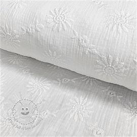 Double gauze/muslin Embroidery Daisy white