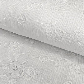 Double gauze/muslin Embroidery flowers white