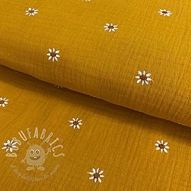 Double gauze/muslin Embroidery FLOWERY ochre