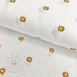 Double gauze/muslin Embroidery FLOWERY white