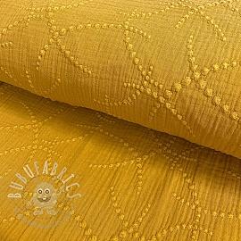 Double gauze/muslin Embroidery Garland ochre