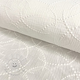 Double gauze/muslin Embroidery Garland off white