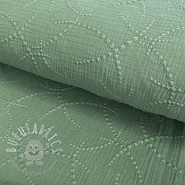 Double gauze/muslin Embroidery Garland old green