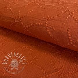 Double gauze/muslin Embroidery Garland rust