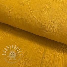 Double gauze/muslin Embroidery Leaf ochre