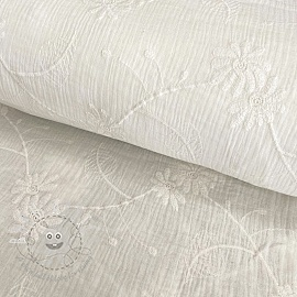Double gauze/muslin Embroidery Leaf off white