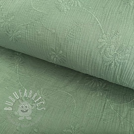 Double gauze/muslin Embroidery Leaf old green