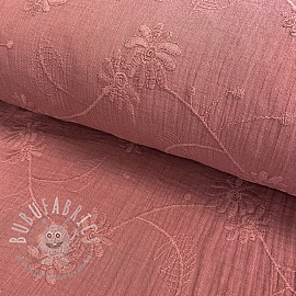 Double gauze/muslin Embroidery Leaf old pink