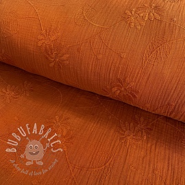 Double gauze/muslin Embroidery Leaf rust
