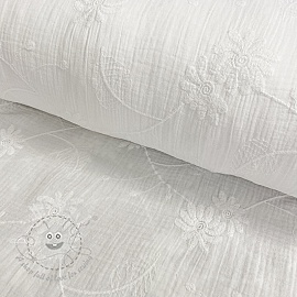 Double gauze/muslin Embroidery Leaf white
