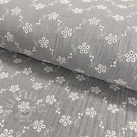 Double gauze/muslin Embroidery Tiny flowers grey