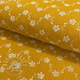 Double gauze/muslin Embroidery Tiny flowers ochre
