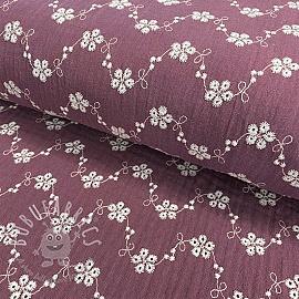 Double gauze/muslin Embroidery Tiny flowers purple