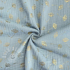 Double gauze/muslin FOIL Dandelion light blue