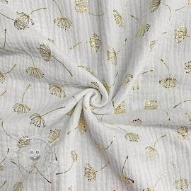 Double gauze/muslin FOIL Dandelion white