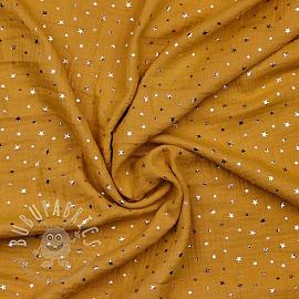 Double gauze/muslin Foil stars ochre silver