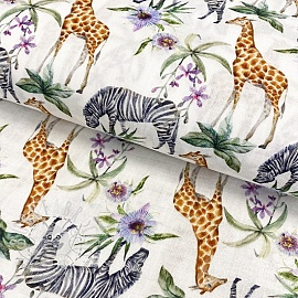 Double gauze/muslin smooth Giraffe and Zebra digital print