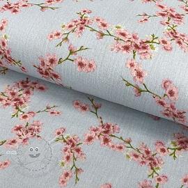 Double gauze/muslin GOTS Blossom light grey digital print