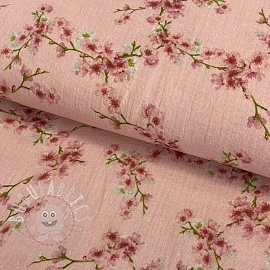 Double gauze/muslin GOTS Blossom light rose digital print