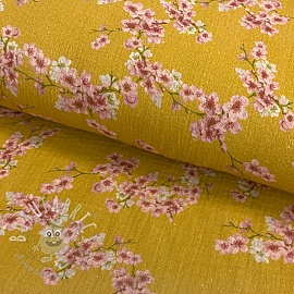 Double gauze/muslin GOTS Blossom ochre digital print