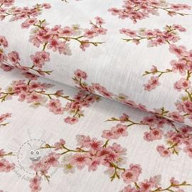 Double gauze/muslin GOTS Blossom white digital print