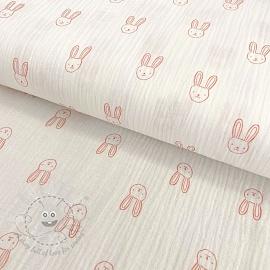 Double gauze/muslin GOTS Sweet rabbit white