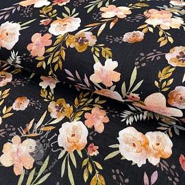 Double gauze/muslin GOTS Watercolour flowers black