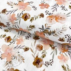 Double gauze/muslin GOTS Watercolour flowers white