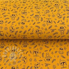 Double gauze/muslin Hanging friends yellow