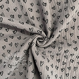 Double gauze/muslin Hearts grey