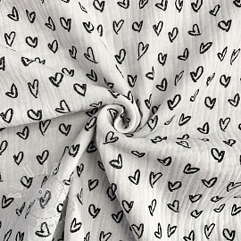 Double gauze/muslin Hearts white