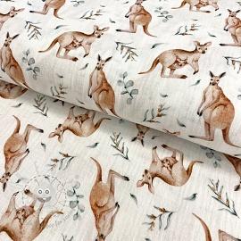 Double gauze/muslin Kangaroo white digital print