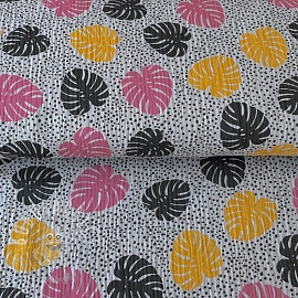 Double gauze/muslin Pretty palms grey