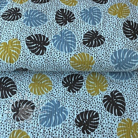 Double gauze/muslin Pretty palms light blue