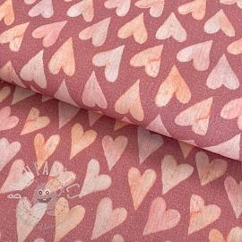 Double gauze/muslin smooth GOTS Big hearts old rose digital print