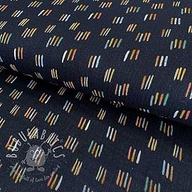 Double gauze/muslin smooth GOTS Rainbow stripes navy digital print