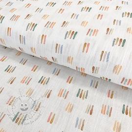 Double gauze/muslin smooth GOTS Rainbow stripes white digital print