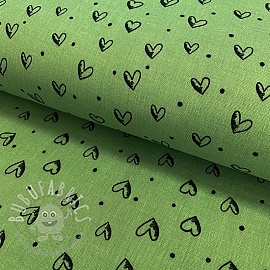 Double gauze/muslin smooth In hearts green