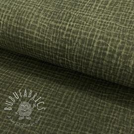 Double gauze/muslin Snoozy fabrics Dirty wash camo green