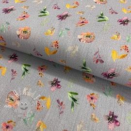 Double gauze/muslin Spring flowers light grey digital print