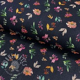 Double gauze/muslin Spring flowers navy digital print