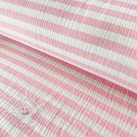 Double gauze/muslin STRIPES light pink