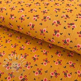 Double gauze/muslin Sweet flowers mustard