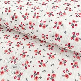 Double gauze/muslin Sweet flowers white
