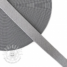 Elastic 2,5 cm glitter grey