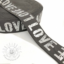 Elastic 3,5 cm LOVE grey