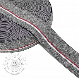 Elastic 4 cm RED STRIPE dark grey